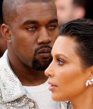 Musician Kanye West and wife Kim Kardashian arrive at the Met Gala in New York