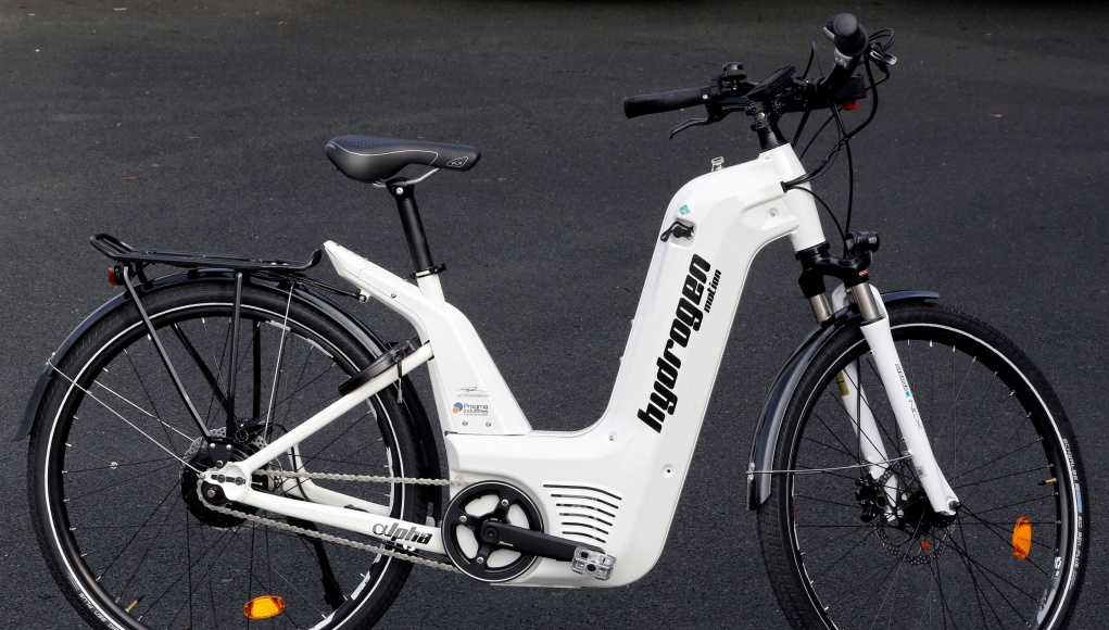 An Alpha bike, the first industrialised bicycle to use a hydrogen fuel cell, is displayed at the Pragma Industries factory in Biarritz