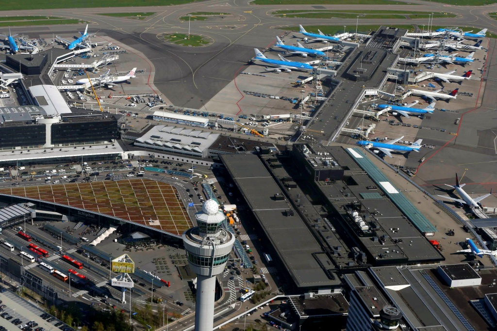 KLM aircraft are seen on the tarmac at Schiphol airport near Amsterdam