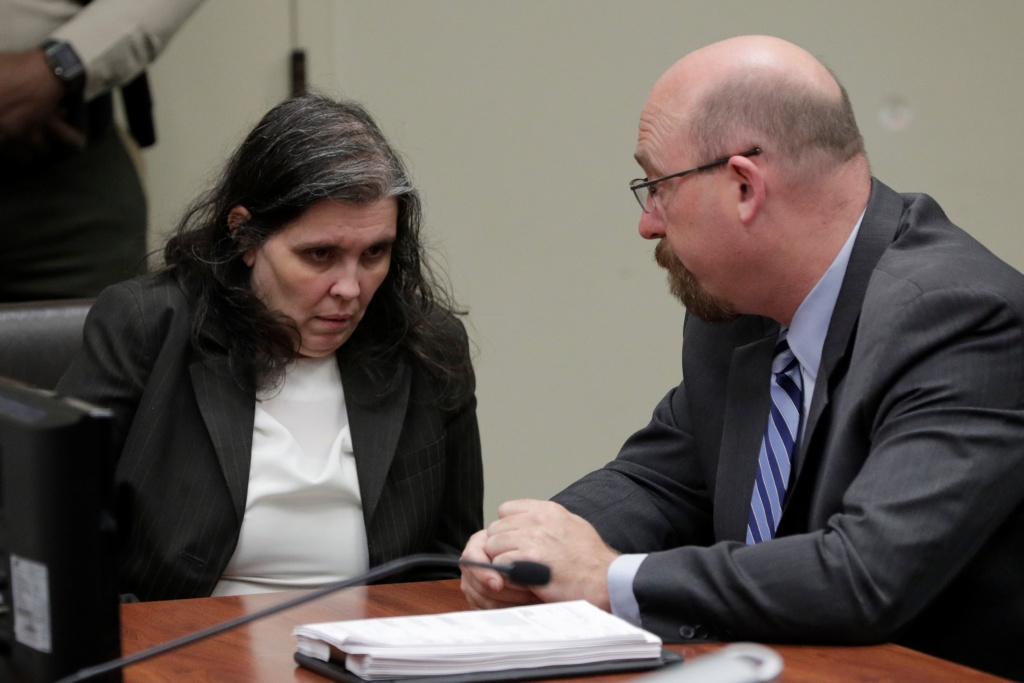 Louise Turpin appears in court for her arraignment with her lawyer Jeff Moore, in Riverside