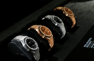 Royal Oak models are pictured on the Audemars Piguet stand at the SIHH watch fair in Geneva