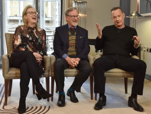 Actors Meryl Streep, Tom Hanks and director Steven Spielberg are seen appearing in an undated pre-recorded interview for the BBC's Andrew Marr Show, in this photograph received via the BBC, in London