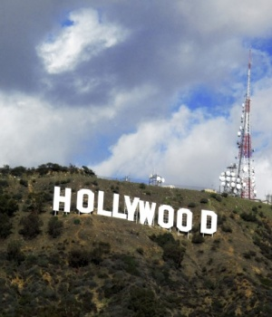 A view of the Hollywood sign in the Hollywood Hills