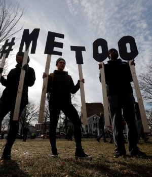 "Demonstrators spell out ""#METOO"" during the local second annual Women's March in Cambridge"