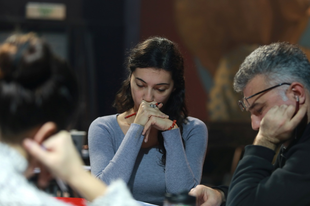 "Actors read scripts during rehearsal of ""The Slobodan Show"" play in Belgrade"