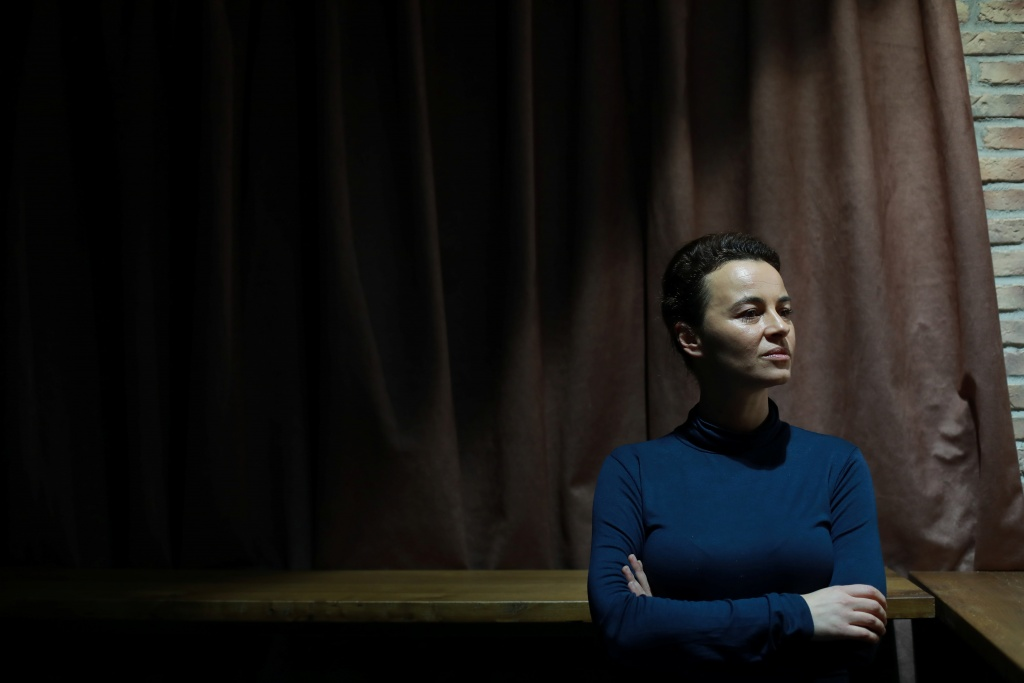 "Writer Bogavac poses for picture during rehearsal of her play ""The Slobodan Show"" in Belgrade"