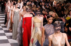 Models present creations by designer Maria Grazia Chiuri for Christian Dior's Haute Couture Spring-Summer 2018 fashion collection in Paris
