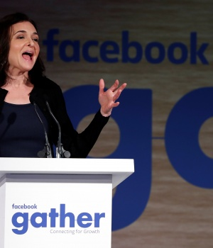 Facebook's COO Sandberg addresses Facebook Gather conference in Brussels