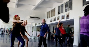 Britain's choreographer Christopher Bruce works at the Cuban ballet star Carlos Acosta's dace studio in Havana