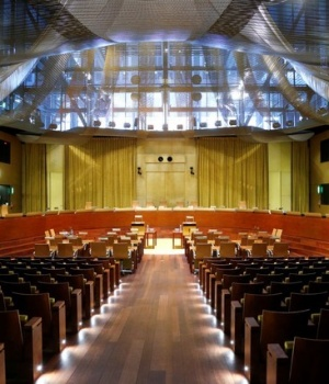 A general view shows the main courtroom of the European Court of Justice in Luxembourg