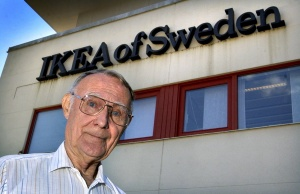 Ingvar Kamprad, founder of Swedish multinational furniture retailer IKEA, is seen at company's head office in Almhult