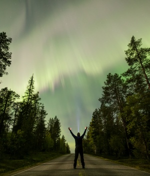 The Aurora Borealis (Northern Lights) is seen over the sky near the village of Pallas (Muonio region) of Lapland