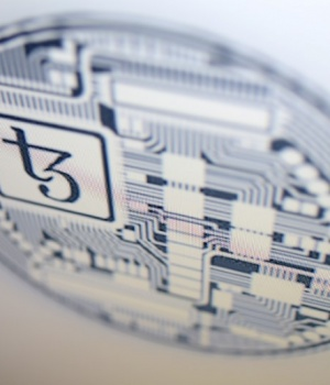 Photo illustration shows detail of Tezos website