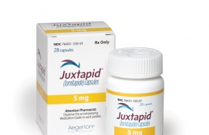 Juxtapid produced by its subsidiary Aegerion Pharmaceuticals Inc. is pictured in this handout photo