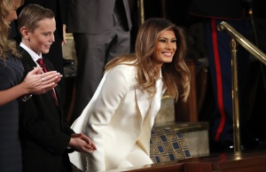 Melania Trump attends President Trump's State of the Union address in Washington