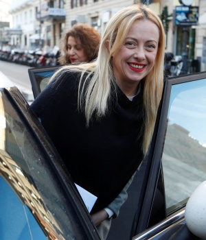 Leader of the far-right Brothers of Italy party, Giorgia Meloni arrives in her car to attend a political rally in Rome