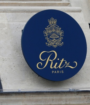 View of the logo of the luxury Ritz Paris hotel at the Place Vendome, central Paris