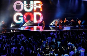 Worshippers attend a church service at the City Harvest Church in Singapore