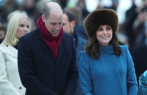Britain's Prince Willian and Katherine, the Duchess of Cambridge, visit the Princess Ingrid Alexandra Sculpture Park within the Palace Gardens, in Oslo