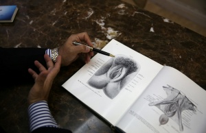 Plastic surgeon Andre Hazan shows a picture of the vagina that he uses during consultations with his clients at his office, during an interview with Reuters in Rio de Janeiro