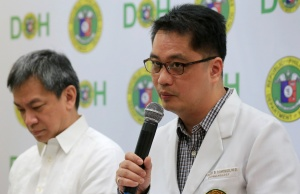 Dr. Rolando Enrique Domingo, Undersecretary of the Department of Health (DOH), with Dr. Gerardo Legaspi, Director of the Philippine General Hospital (PGH), answer questions during a news conference at the DOH headquarter in metro Manila