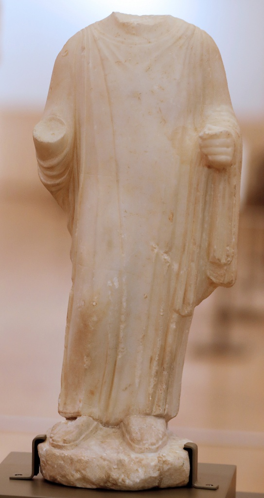 Part of a Phoenician statue is displayed inside Beirut's National Museum in Beirut