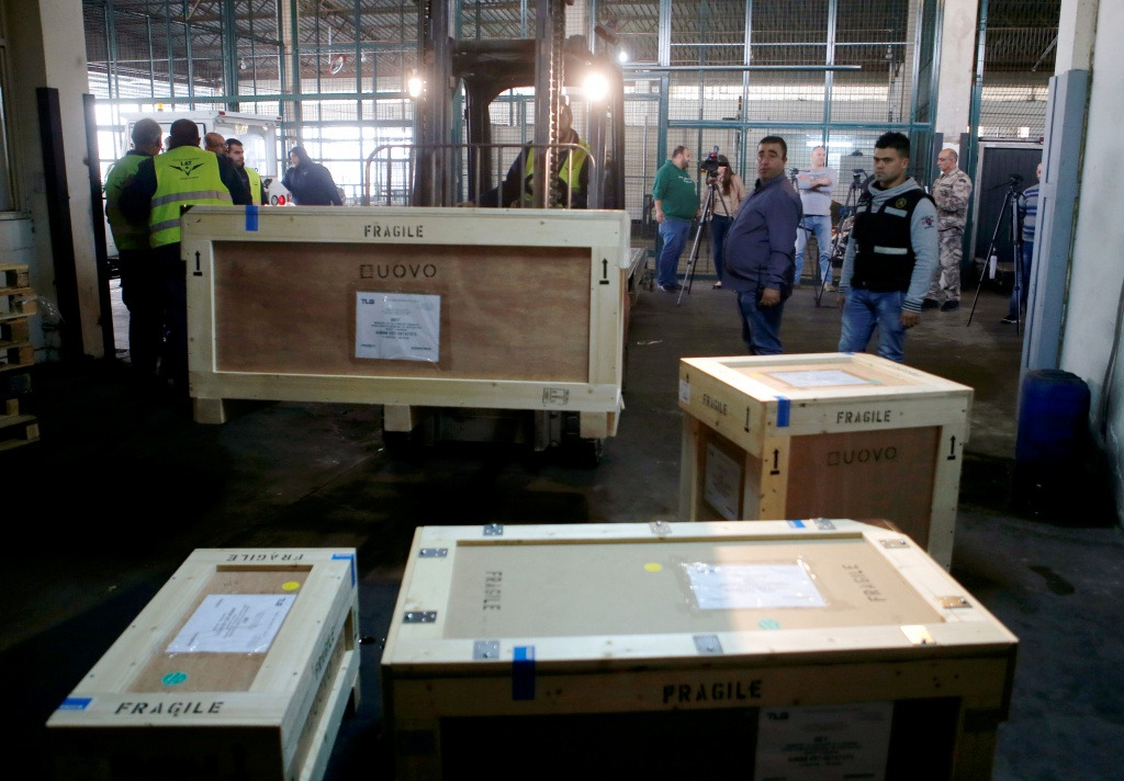 Boxes of artefacts are seen at Beirut's International Airport