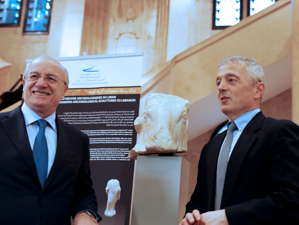Lebanon's Culture Minister Ghattas Khoury reacts as he stands next to Matthew Bogdanos, assistant district attorney for Manhattan at Beirut's National Museum in Beirut