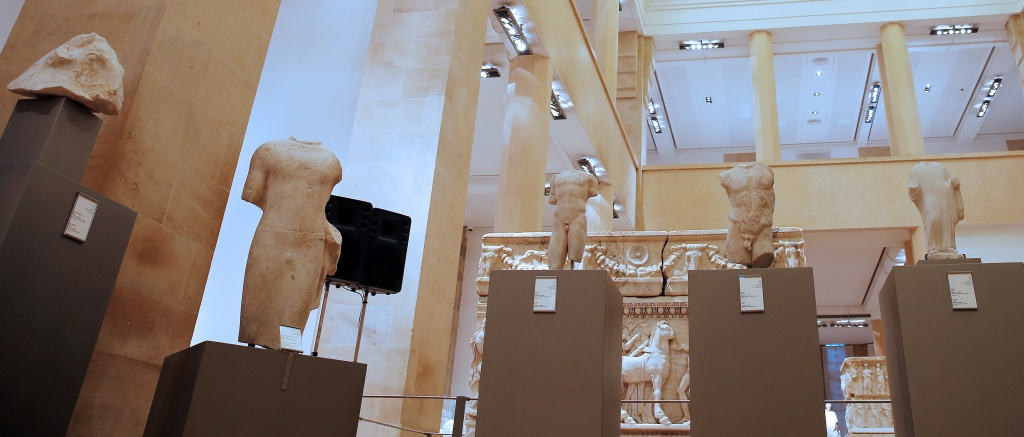 A five ancient sculptures are displayed inside Beirut National Museum in Beirut