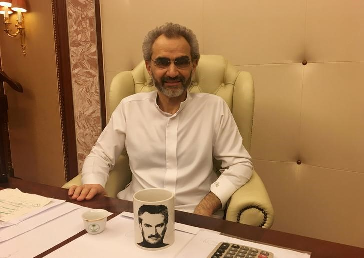Saudi Arabian billionaire Prince Alwaleed bin Talal sits for an interview with Reuters in the office of the suite where he has been detained at the Ritz-Carlton in Riyadh