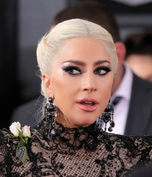 Lady Gaga arrives at the 60th Annual Grammy Awards in New York