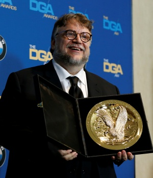 """Director del Toro holds his award for Outstanding Directorial Achievement in Feature Film for """"The Shape of Water"""" at the 70th Annual DGA Awards in Beverly Hills"""
