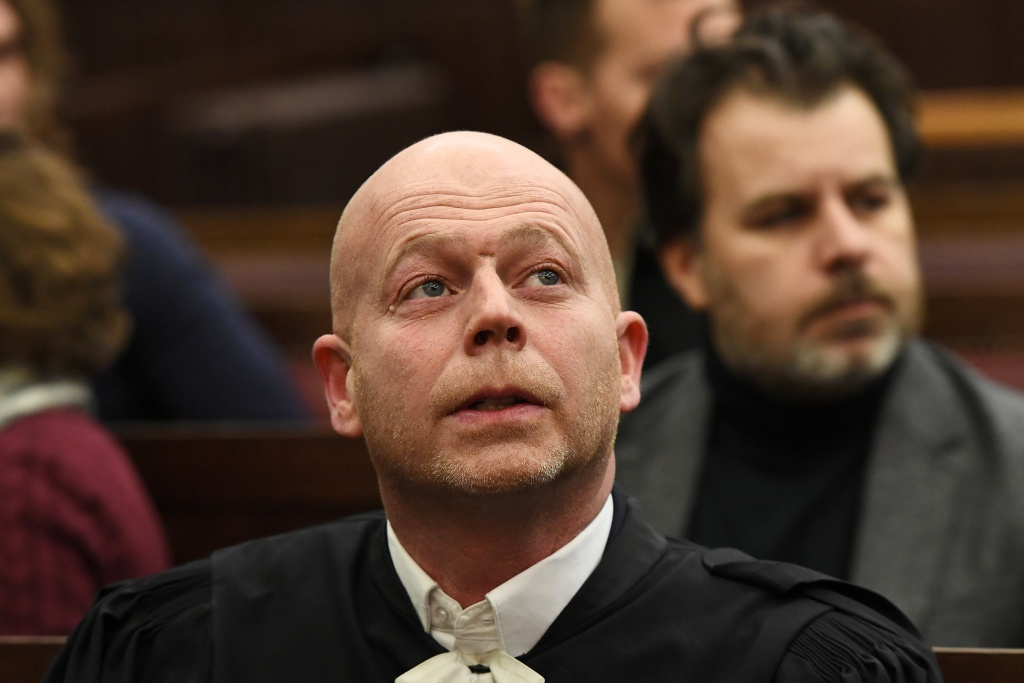 Sven Mary, lawyer of Salah Abdeslam, one of the suspects in the 2015 Islamic State attacks in Paris, is seen in court during Abdeslam's trial in Brussels