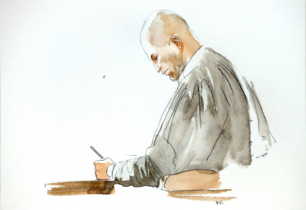 A court artist drawing shows Belgian lawyer Mary, who is defending Salah Abdeslam, one of the suspects in the 2015 Islamic State attacks in Paris, in court during his trial in Brussels