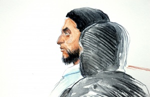 A court artist drawing shows Salah Abdeslam, one of the suspects in the 2015 Islamic State attacks in Paris, in court during his trial in Brussels