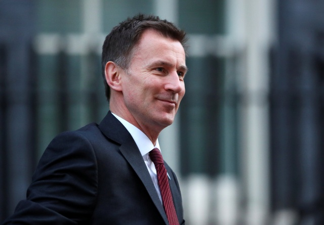 Britain's Secretary of State for Health and Social Care Jeremy Hunt