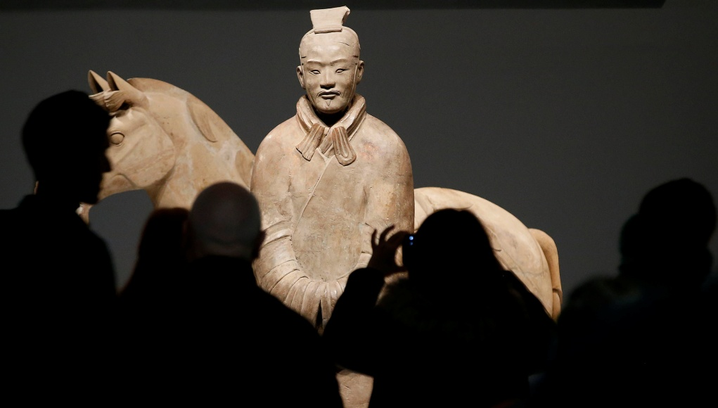 A Terracotta Warrior which guarded the tomb of China's First Emperor, Qin Shi Huang, on loan from China is displayed in The World Museum, Liverpool