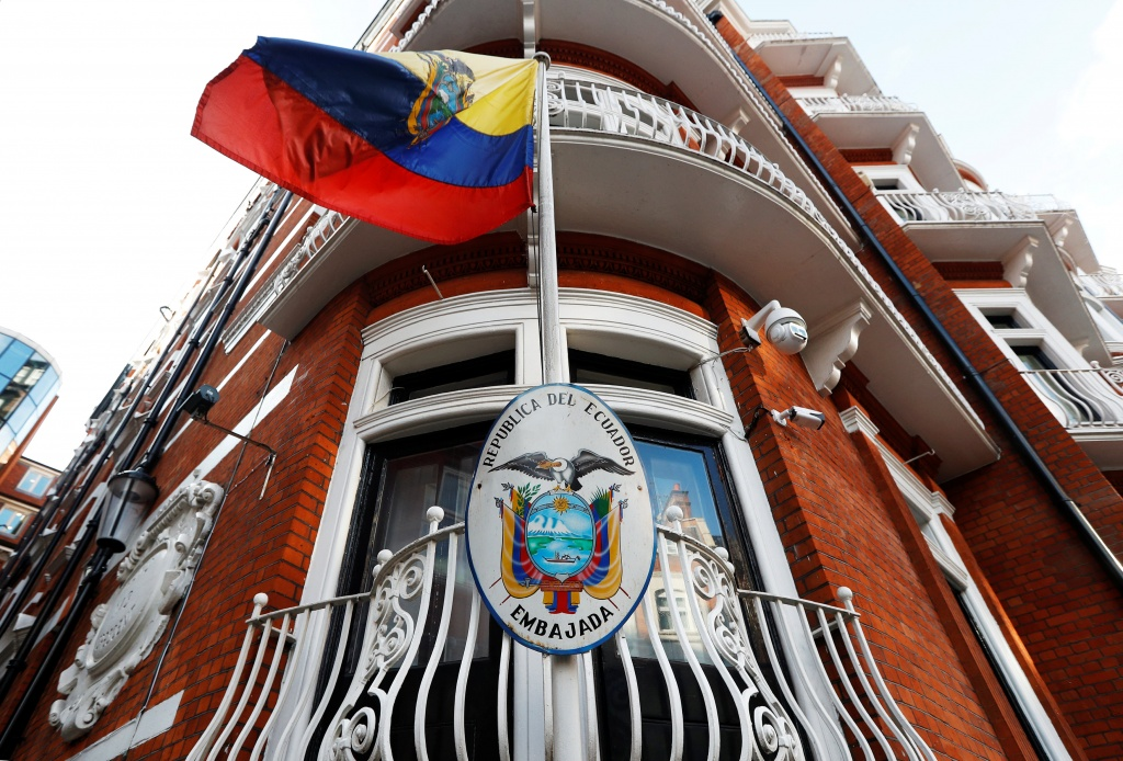 A flag flies outside Ecuador's embassy in London