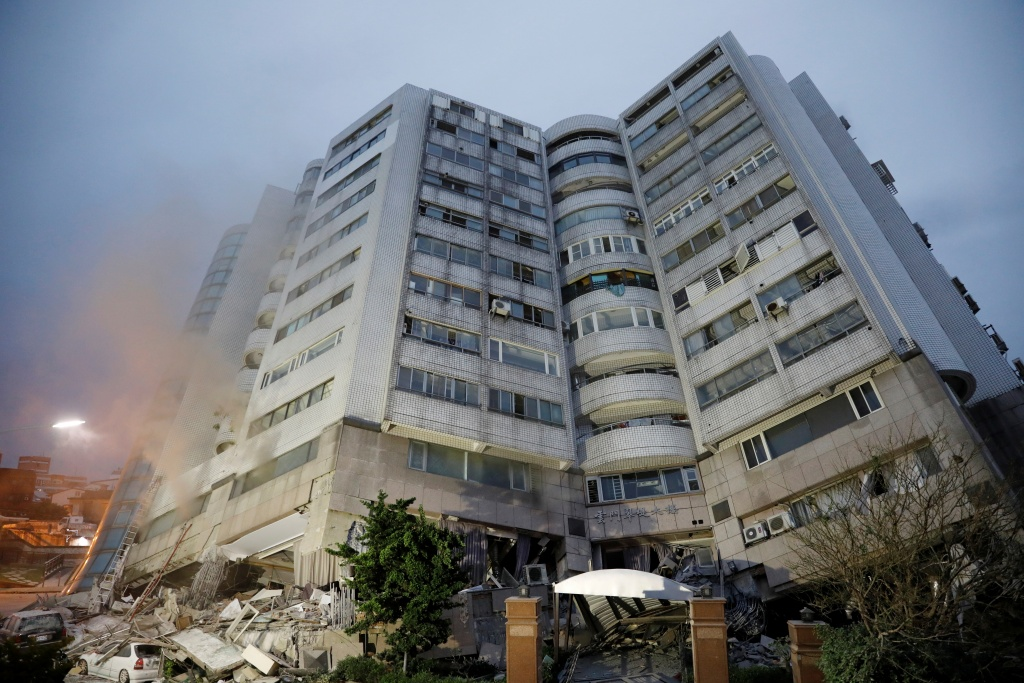 A damaged residential building is seen after an earthquake hit Hualien