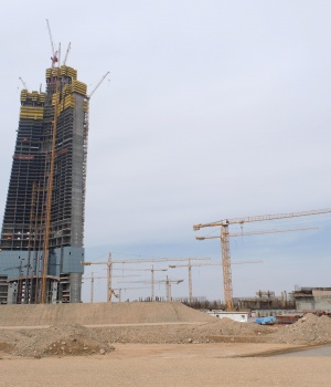 View shows the construction site of Jeddah Tower in Jeddah