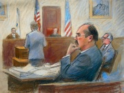 Court sketch of Arthur Rathburn at his trial in Detroit