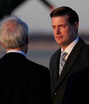 Porter arrives on Air Force One with Trump at Joint Base Andrews, Maryland