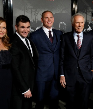 "Director Eastwood poses with cast members Fischer, Skarlatos, Stone and Sadler at a premiere for ""The 15:17 to Paris"" in Burbank"