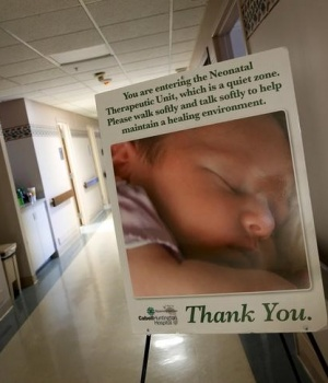 A sign marks the entrance to the Neonatal Therapeutic Unit at Cabell Huntington Hospital in Huntington, West Virginia