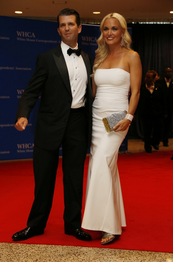 Donald Trump Jr. and wife Vanessa arrive on the red carpet for the annual White House Correspondents Association Dinner in Washington