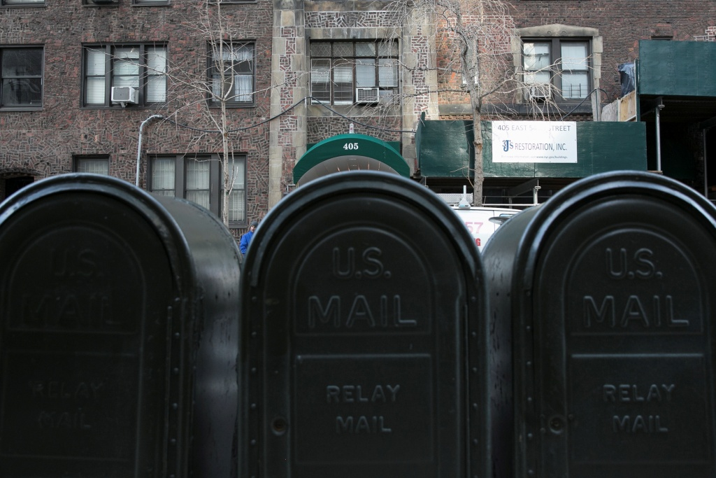 Mailboxes across the street from 405 E. 54th street, where Donald Trump Jr.'s wife, Vanessa Trump, opened a letter containing white powder
