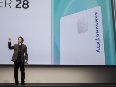 Injong Rhee, Executive Vice President and Head of Samsung Pay at Samsung Electronics, speaks at the Samsung Galaxy Unpacked 2015 event in New York