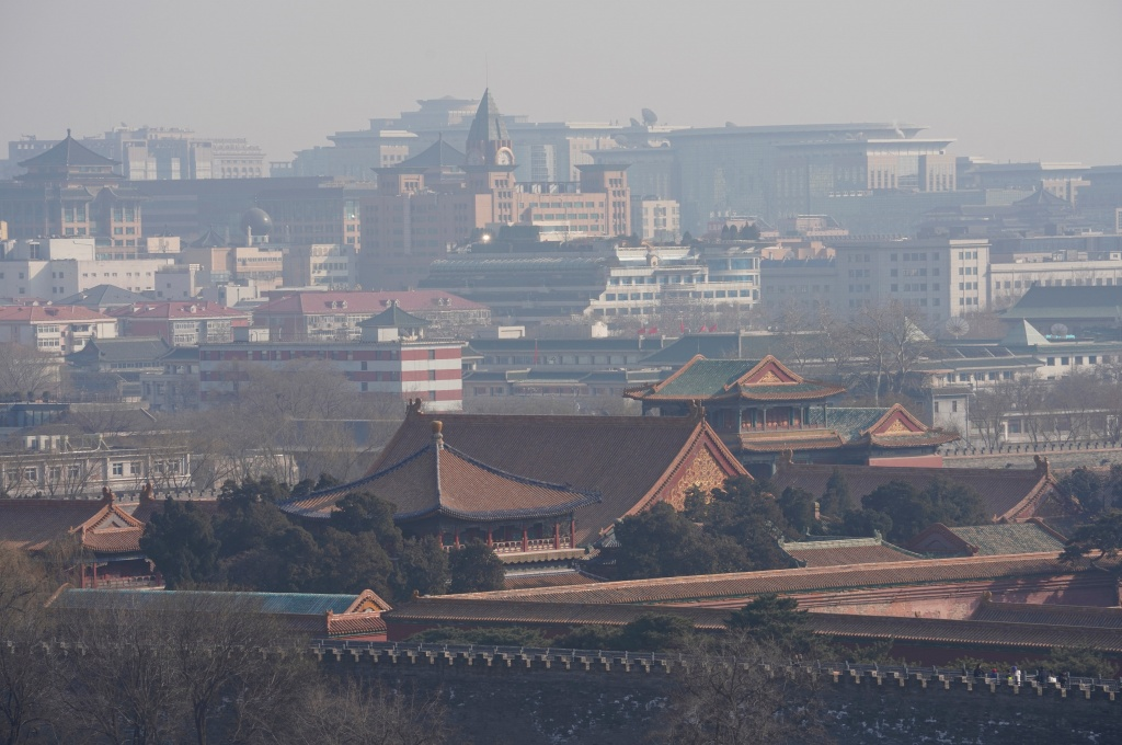 Forbidden City and other buildings are seen amid smog in Beijing