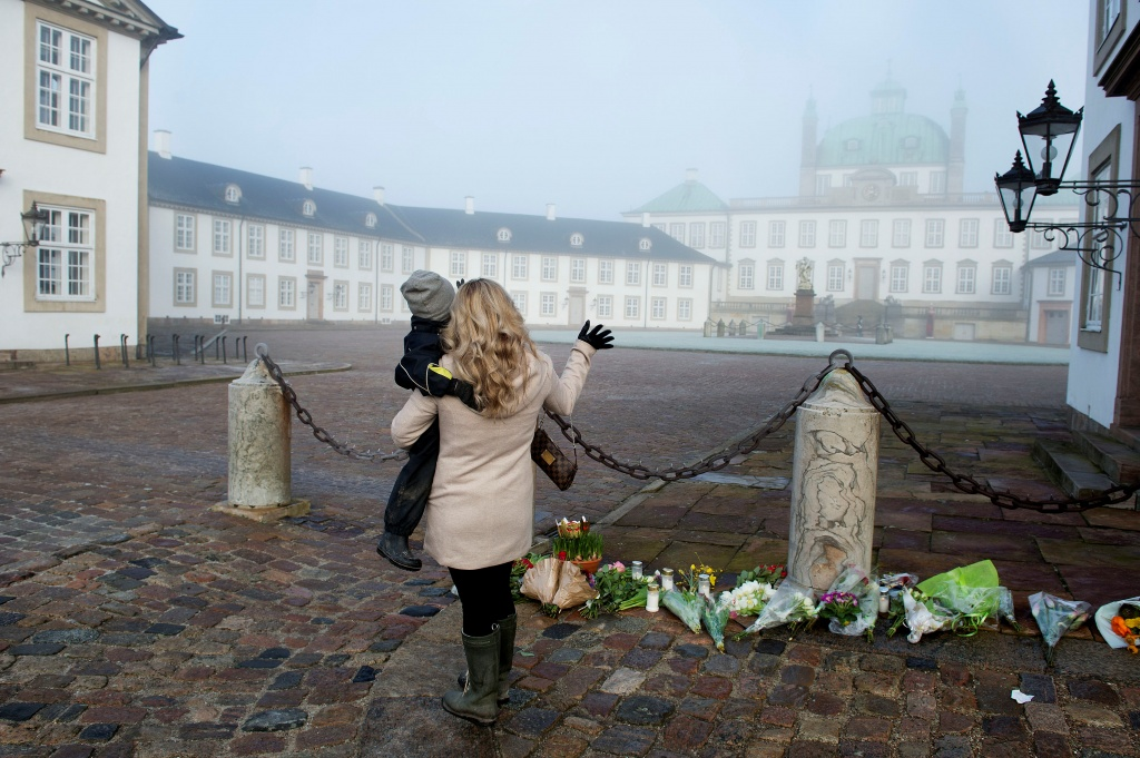 Flowers are seen at Amalienborg Palace after the announcement of Prince Henrik's death, in Fredensborg