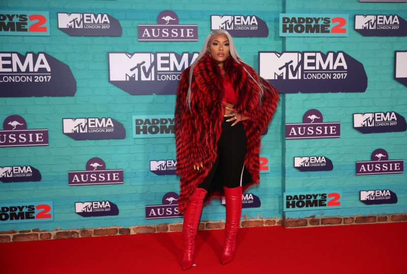 British rapper Stefflon Don arrives at the 2017 MTV Europe Music Awards at Wembley Arena in London.